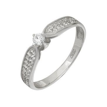 кольцо c бриллиантами из белого золота 13038033
