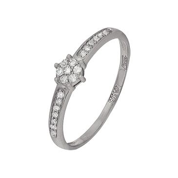 кольцо c бриллиантами из белого золота 13038360