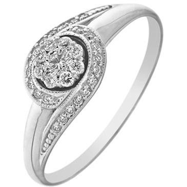 кольцо c бриллиантами из белого золота 13033806