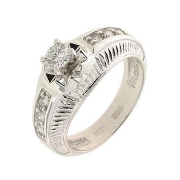 кольцо c бриллиантами из белого золота 13037791