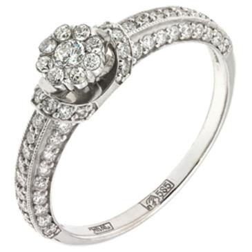 кольцо c бриллиантами из белого золота 13038121