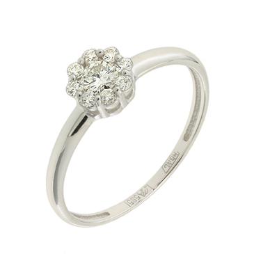 кольцо c бриллиантами из белого золота 13038158