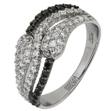 кольцо c бриллиантами из белого золота 13038241.17-1