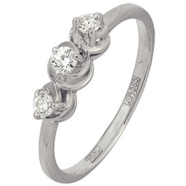 кольцо c бриллиантами из белого золота 13038276