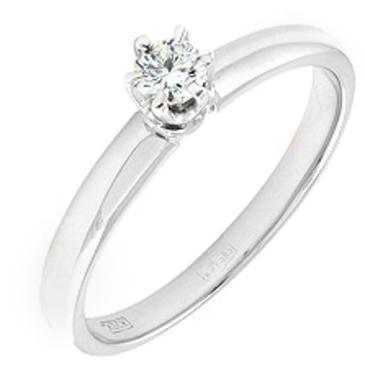 кольцо c бриллиантом 0,178 кт из белого золота 13033148