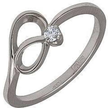 кольцо c бриллиантом из белого золота 13031409