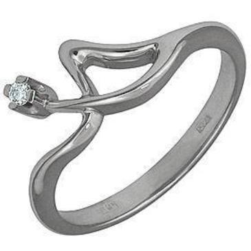 кольцо c бриллиантом из белого золота 13031567
