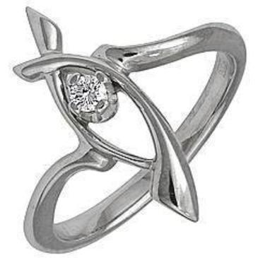 кольцо c бриллиантом из белого золота 13031587