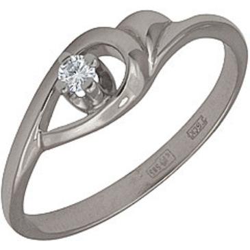 кольцо c бриллиантом из белого золота 13031593