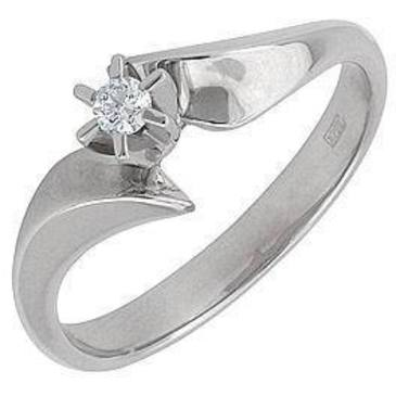 кольцо c бриллиантом из белого золота 13031871