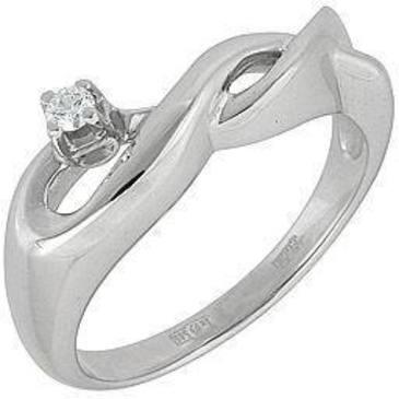 кольцо c бриллиантом из белого золота 13032507