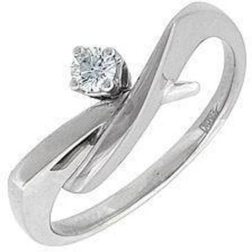 кольцо c бриллиантом из белого золота 13032517