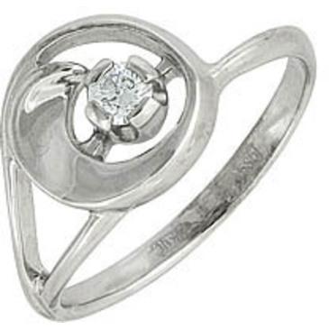 кольцо c бриллиантом из белого золота 13032612