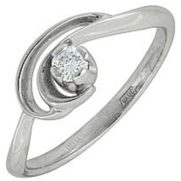 кольцо c бриллиантом из белого золота 13032613-2
