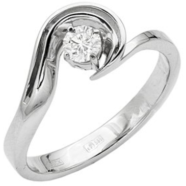 кольцо c бриллиантом из белого золота 13033160-1