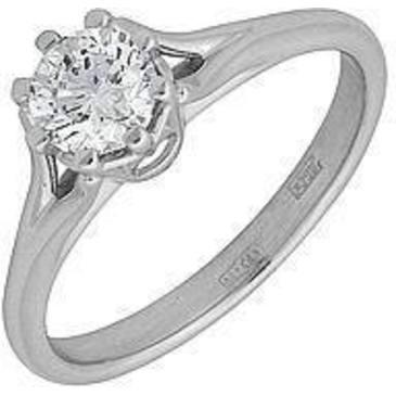 кольцо c бриллиантом из белого золота 13035016-1
