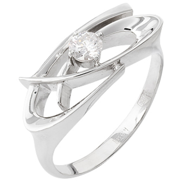 кольцо c бриллиантом из белого золота 13036158