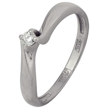 кольцо c бриллиантом из белого золота 13038338