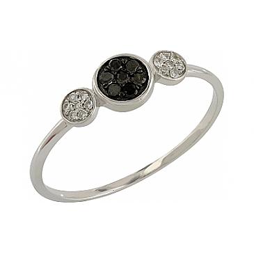 Кольцо круги с черными и белыми бриллиантами из белого золота 106086