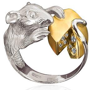 Кольцо Крыса с сыром с бриллиантами из белого золота К-74002