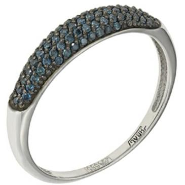 кольцо Нежность c 72 голубыми бриллиантами из белого золота 13038368-1