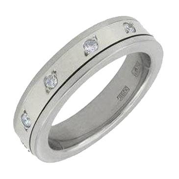 кольцо обручальное c бриллиантами из белого золота 1303237