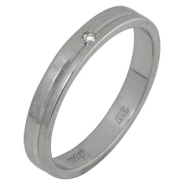 кольцо обручальное c бриллиантом из белого золота 1007108032
