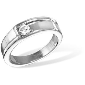 Кольцо обручальное с бриллиантами из белого золота R10720WG