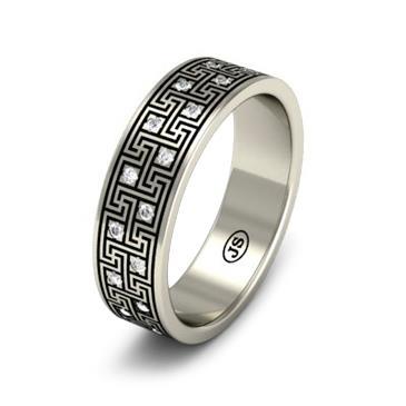 Кольцо обручальное с бриллиантами из белого золота WD1009WD