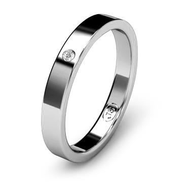 Кольцо обручальное с бриллиантом шириной 3 мм из белого золота W135WD141