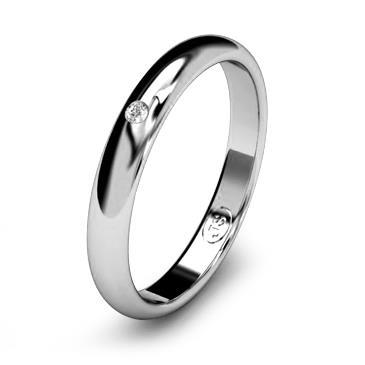Кольцо обручальное с бриллиантом шириной 3 мм из белого золота W235WD141