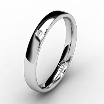 Кольцо обручальное с бриллиантом шириной 3 мм из белого золота W435WD141