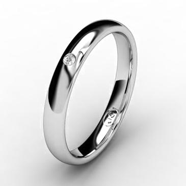 Кольцо обручальное с бриллиантом шириной 3 мм из белого золота W535WD141