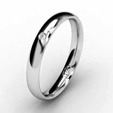 Кольцо обручальное с бриллиантом шириной 3 мм из белого золота W635WD141