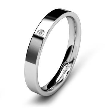 Кольцо обручальное с бриллиантом шириной 3 мм из белого золота W735WD141