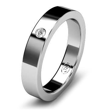 Кольцо обручальное с бриллиантом шириной 4 мм из белого золота W145WD201