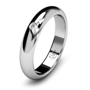 Кольцо обручальное с бриллиантом шириной 4 мм из белого золота W245WD201
