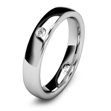 Кольцо обручальное с бриллиантом шириной 4 мм из белого золота W345WD201