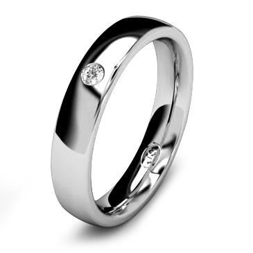 Кольцо обручальное с бриллиантом шириной 4 мм из белого золота W445WD201
