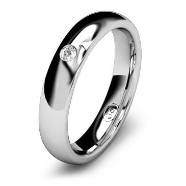 Кольцо обручальное с бриллиантом шириной 4 мм из белого золота W545WD201