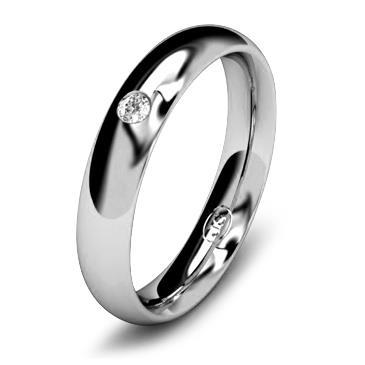 Кольцо обручальное с бриллиантом шириной 4 мм из белого золота W645WD201