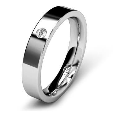 Кольцо обручальное с бриллиантом шириной 4 мм из белого золота W745WD201
