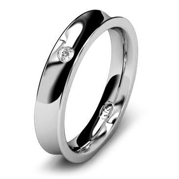 Кольцо обручальное с бриллиантом шириной 4 мм из белого золота W845WD201