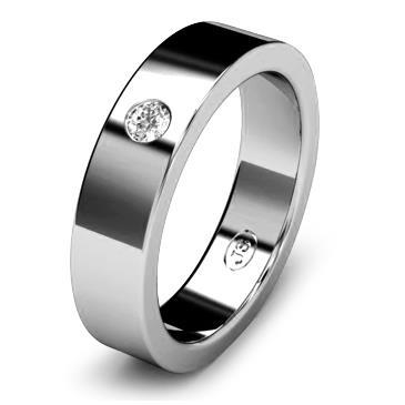 Кольцо обручальное с бриллиантом шириной 5 мм из белого золота W155WD251