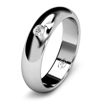 Кольцо обручальное с бриллиантом шириной 5 мм из белого золота W255WD251