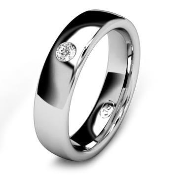 Кольцо обручальное с бриллиантом шириной 5 мм из белого золота W355WD251