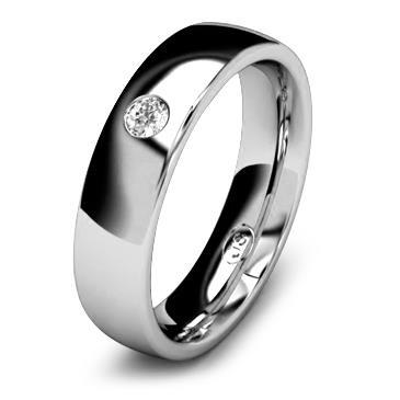 Кольцо обручальное с бриллиантом шириной 5 мм из белого золота W455WD251