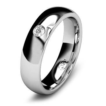 Кольцо обручальное с бриллиантом шириной 5 мм из белого золота W555WD251