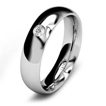 Кольцо обручальное с бриллиантом шириной 5 мм из белого золота W655WD251