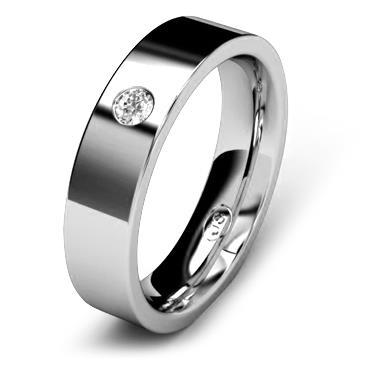 Кольцо обручальное с бриллиантом шириной 5 мм из белого золота W755WD251